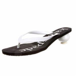 ♠️🆒 KSNY ♤ Logo Thong Sandals ♤ Round Ball Heel ♤